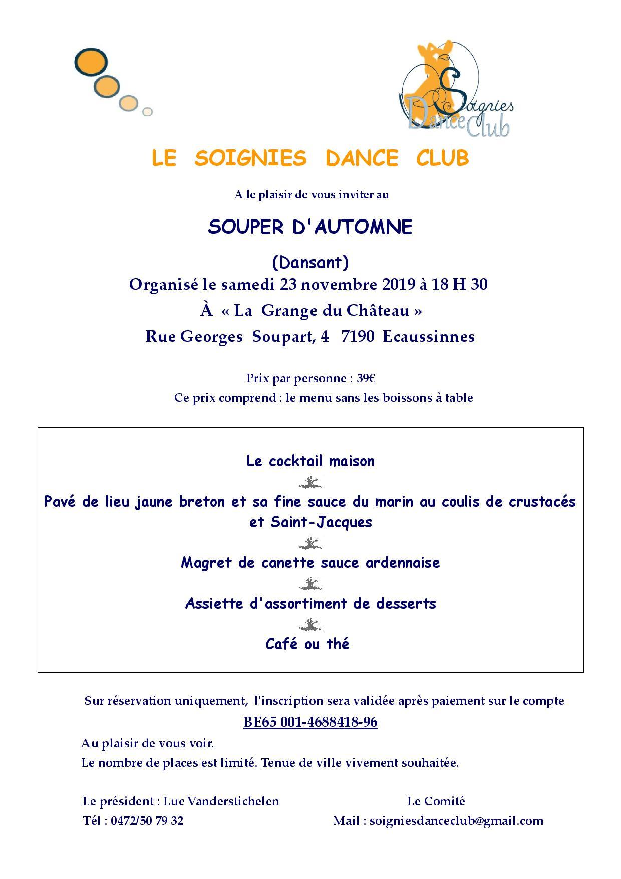 Invitation souper d automne du 23 novembre 2019 soignies dance club page 001